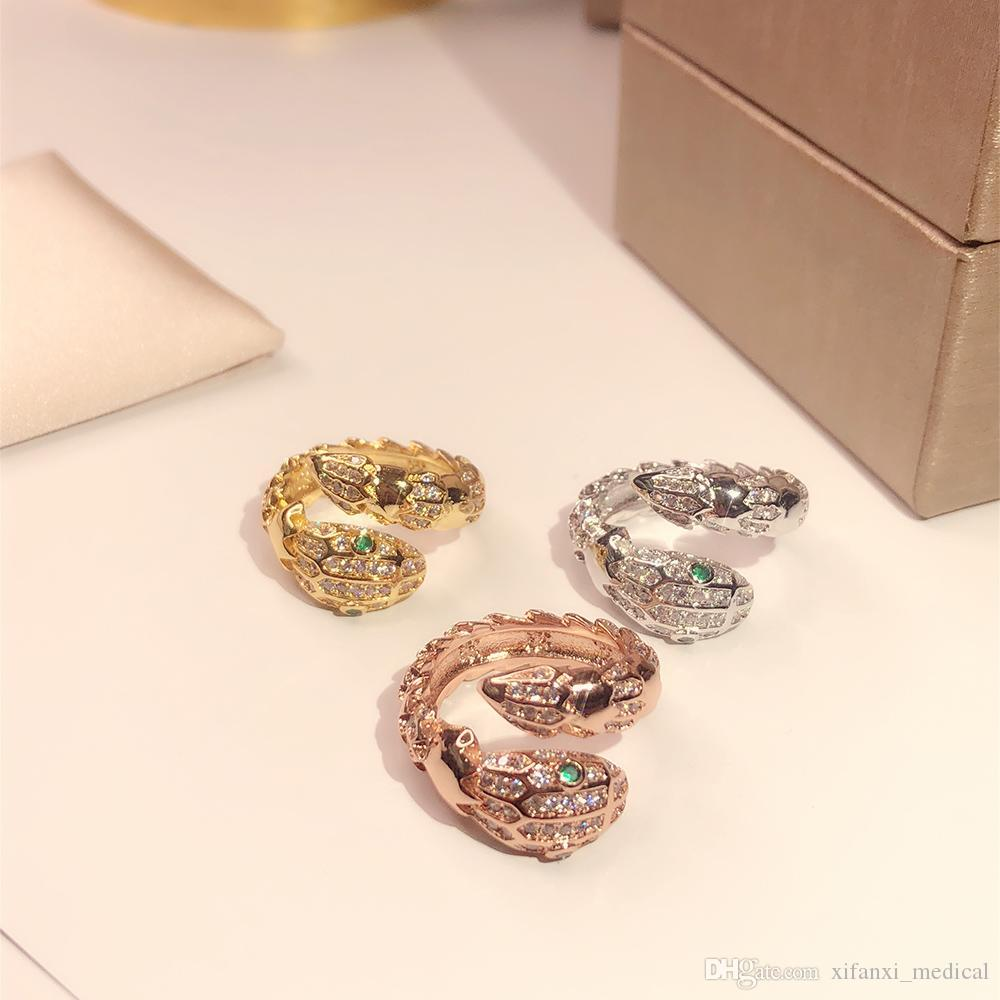 New pattern snake ring Golden Classic Fashion Party Jewelry For Women Rose Gold Wedding Luxurious snake Open size rings Free shipping