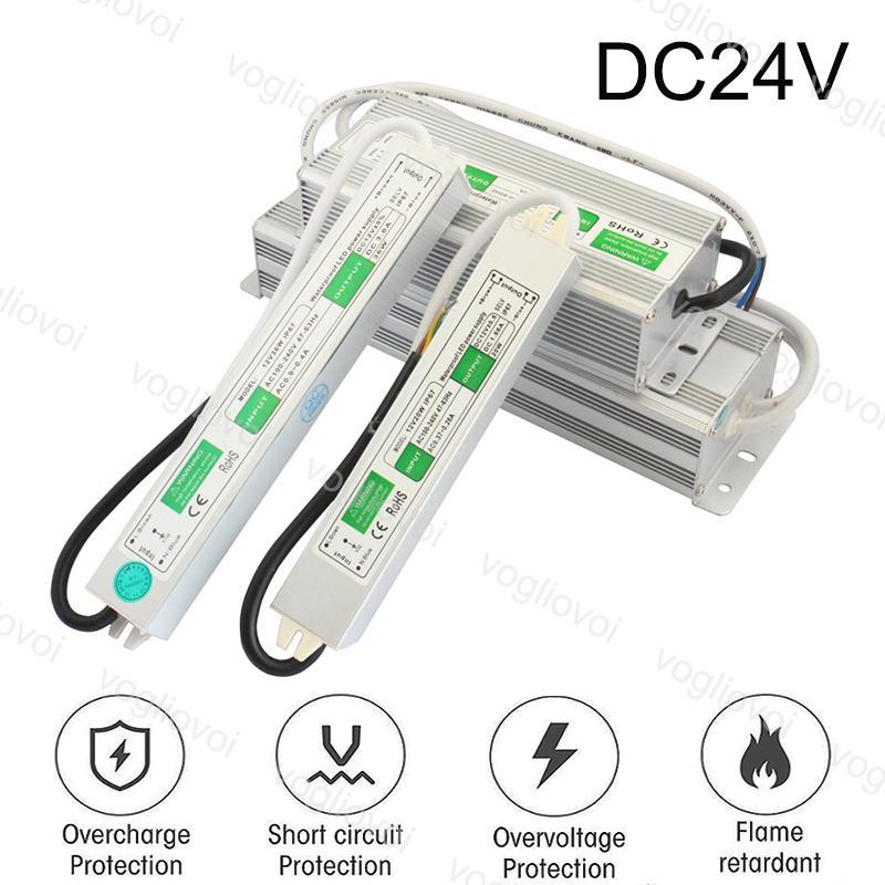 إضاءة محولات DC24V 80W 60W 100W للماء 90 ~ 265V محول الفضة الألومنيوم ل 2835 3014 led قطاع الوحدات الرقمية بكسل dhl