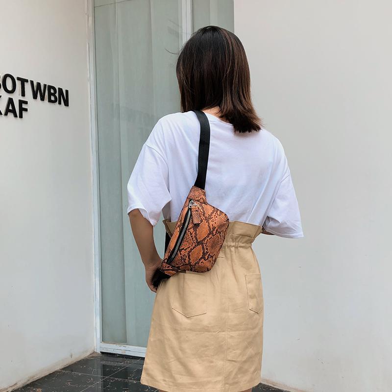 Patrón de la serpiente de las mujeres Fany Paquete Mujer de lujo de diseño de moda bolso de la cintura del pecho Crossbody Bolsa Leopard plátano de la correa del monedero del bolso del teléfono