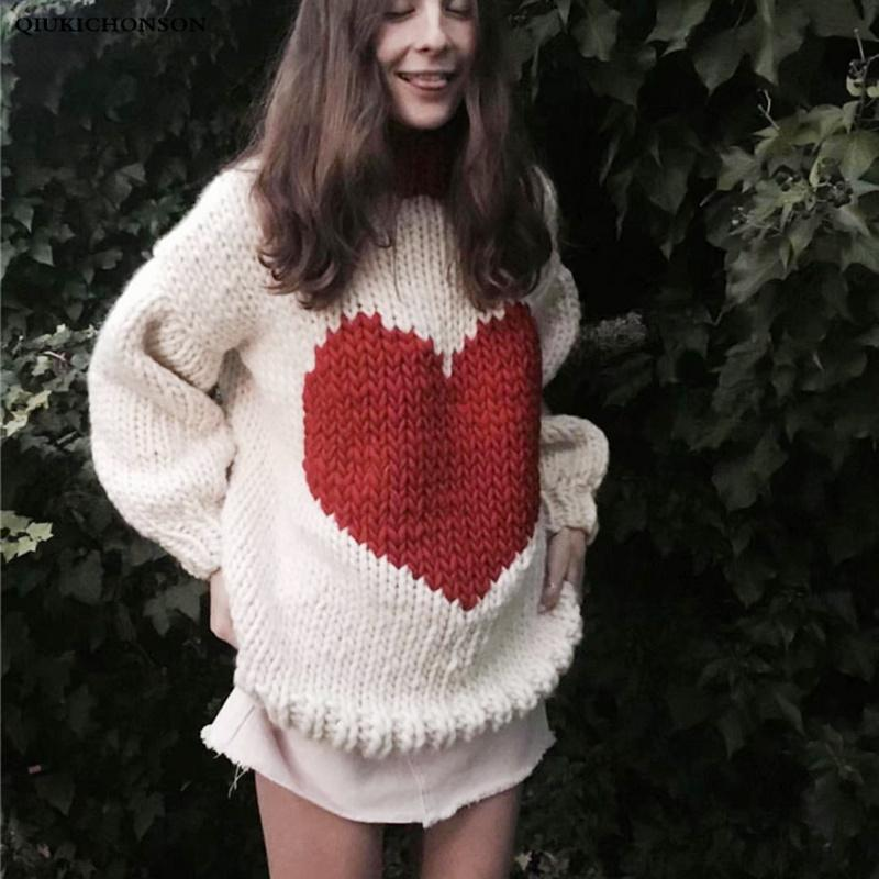 Vintage Women Chunky Yarn Heart Sweater Autumn Winter Long Sleeve Knitted Pullover Sweater Oversized Ladies Jumpers Tops pull