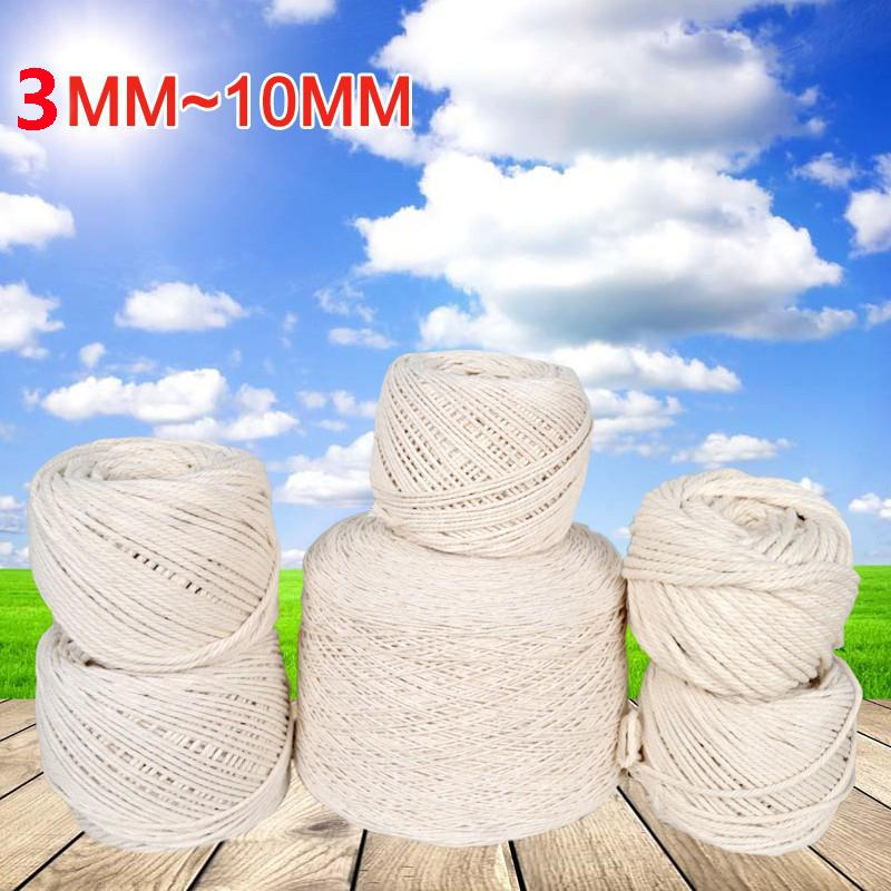 Yarn 3-10mm White Cotton Twisted Braided Cord Rope DIY Handmade Home Textile Accessories Craft Macrame String Wedding Decoration