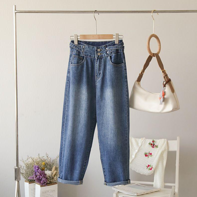 A vita alta epoca lungo dei jeans delle donne 2020 autunno casuale allentata pulsante Streetwear Tasche Chic pantaloni diritti Femminile fasciatura