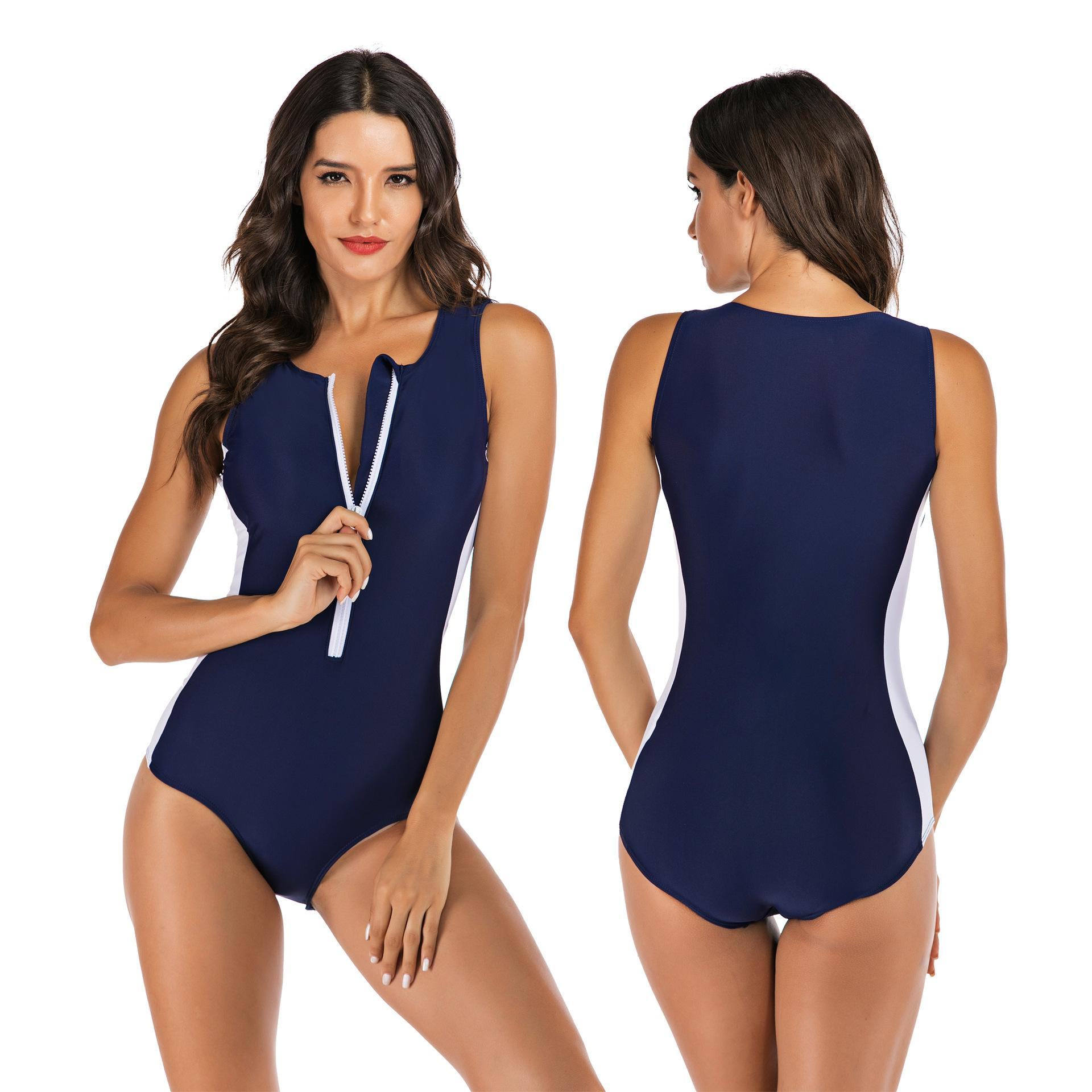 New Zipper One Piece Swimsuit Female Navy Swimwear Women Sport Swimming Suits for Women Rash Guard Beach Wear XXL