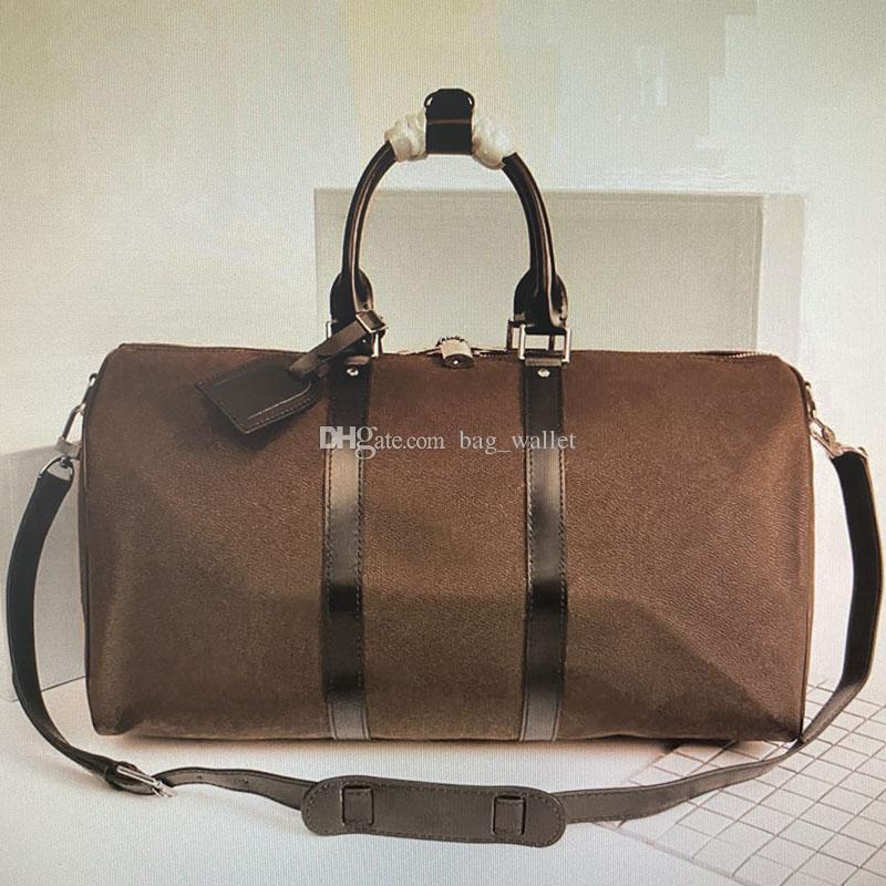 الاستمرار في ALL BANDOULIERE 55 50 45 CM المرأة حقيبة سفر الرجال الكلاسيكية القماش الخشن حقائب المتداول Softsided حقيبة الأمتعة مجموعة N41145 M56714 M41414