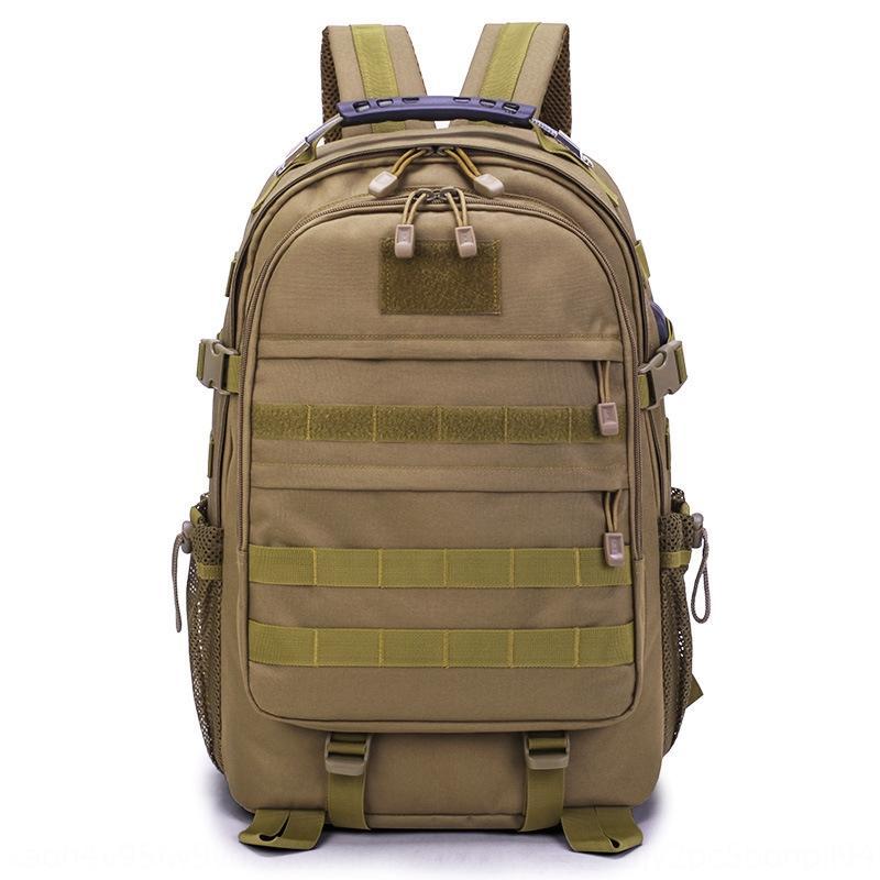 rPJbi Outdoor Tactical mochila comer frango de três níveis do curso de grande capacidade montanhismo mochila montanhismo fãs saco camoufl