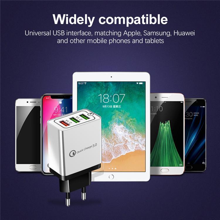 Cargadores del teléfono celular de la venta caliente de Estados Unidos Puerto 3 de carga rápida de la UE Adaptador de enchufe USB cargador de pared QC3.0
