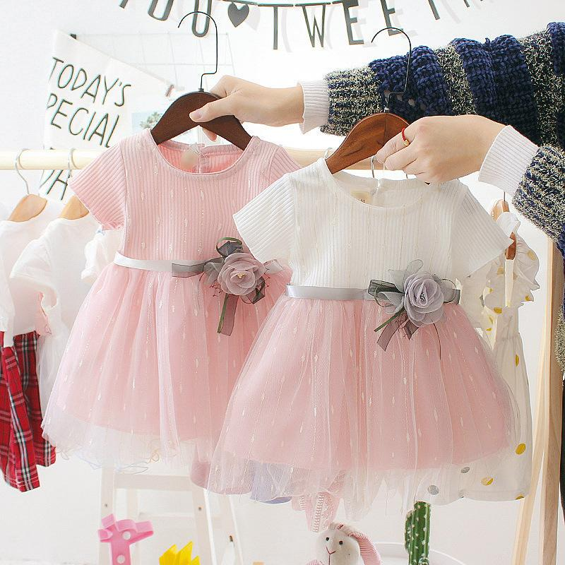 kız bebek Çocuk Giyim Kız pamuk Kız Bebek Elbise Parti Düğün Çocuk Prenses Giydirme için sevimli kaliteli Elbise