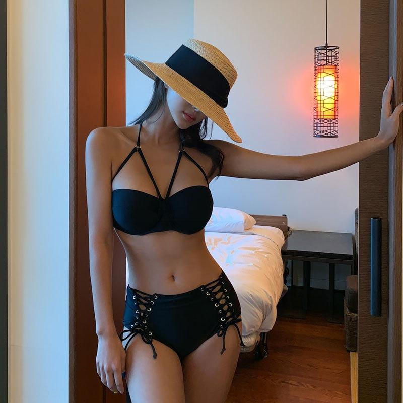 De dos piezas de soporte de acero del bikini swimsuitswimsuit swimsuithigh lado del triángulo de la cintura de la correa atractivo de la playa del resorte caliente traje de baño bikini