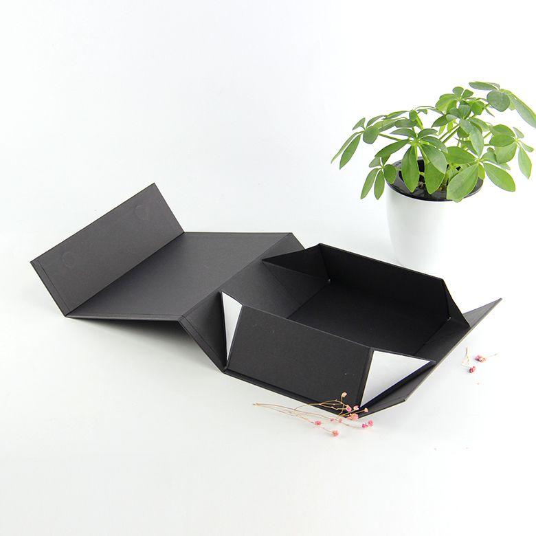 مخصص ساحة لطي جامدة الأسود رفرف الكرتون ورقة قابلة للطي المغناطيسي إغلاق علبة هدية