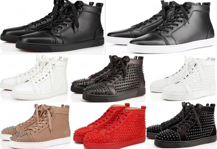 plate-forme Sneakers chaussures semelle rouge clouté Spikes pour Hommes Chaussures et femmes Party sneakers en cuir de cristal de mariage avec boîte grande taille 36-47