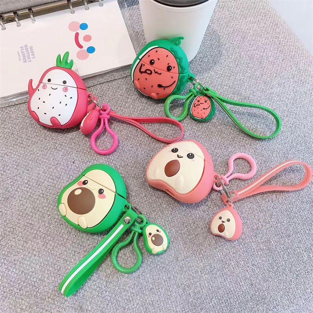 Dragon fraise fruit avocat thé pêche lait pastèque coquille dur pour Apple AirPod cas AirPod cas Protecteur accessoires porte-clés