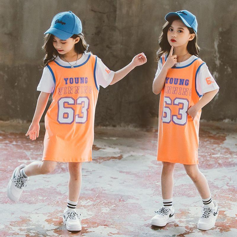 vestuário 2020 nova combinação de cores estilo coreano menina T-shirt do desgaste da letra meio de crianças e crianças grandes simples lo solto de Vj4ex Crianças