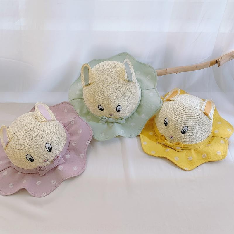 Summer 2020 new Korean children all-match cute cartoon elf baby men's and women's Straw straw hat beach basin hat