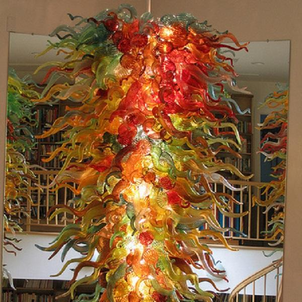 New Arrival Hotel Decor Large Glass Chandelier Light Modern Crystal Art Decor Blown Murano Glass Hanging LED Dale Chihuly Style Chandelier