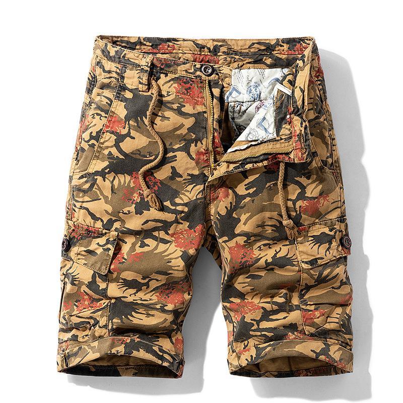 Verano Thin Herramientas casual hombres de los cortocircuitos del camuflaje flojo longitud de la rodilla recta cadera Pantalones de algodón chándal de los hombres de Hip pantalones cortos masculino