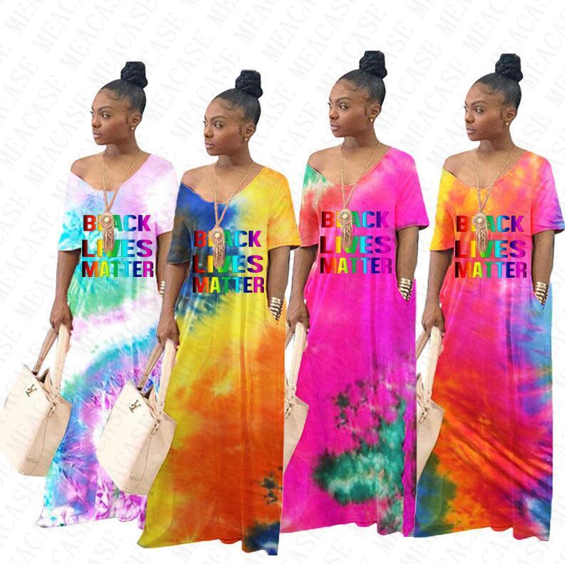 Женщины Бренд Платья D71404 Градиентные Цветные буквы Tie-Окрашенные Черное вещество Печатные Свободные Плюс Платье Пуловер Размер Проживает Длинное Maxi Платье DXGEK