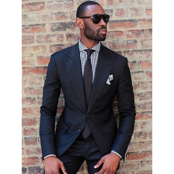 2020 Completo nero Mens Wedding del partito di promenade Abiti su ordine vestito di affari di modo degli uomini smoking dello sposo insieme delle 2 parti (giacca + pantaloni)
