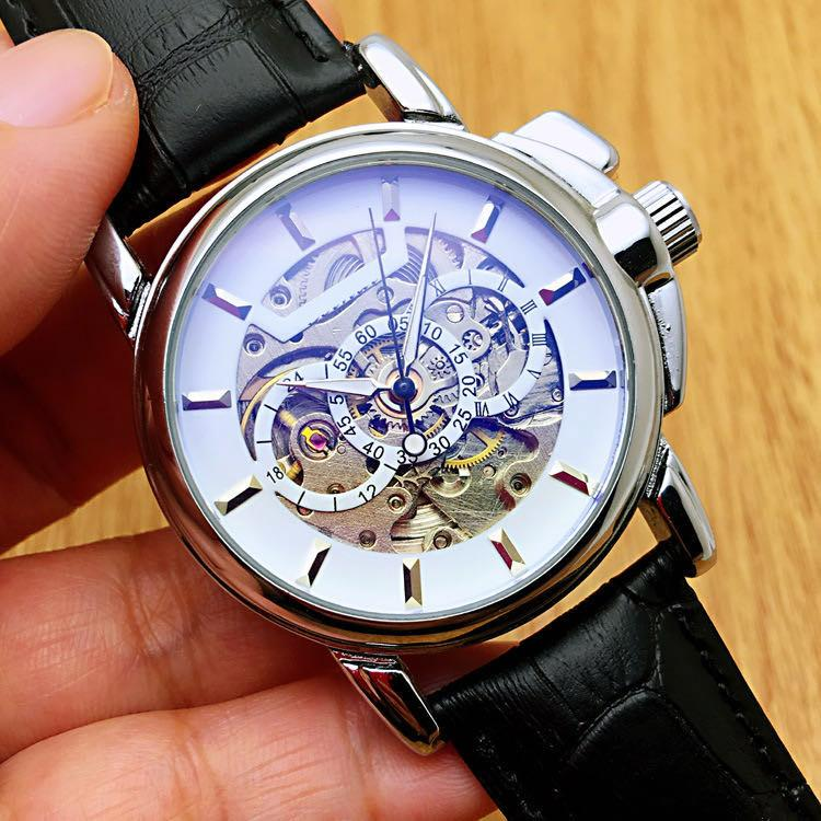 New Blu-ray Glass Mens Watches Leather Strap Wristwatches Automatic Mechanical Men Watch As a Happy Birthday Gift Clock