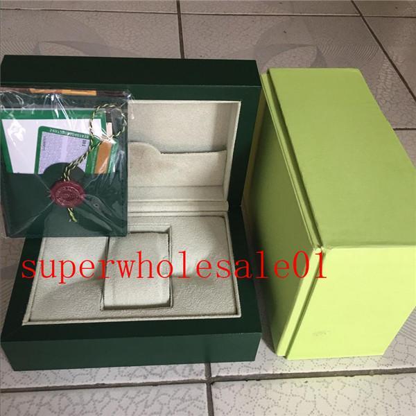 718 reloj de lujo libre del envío del Mens por un reloj Rolex original de la caja interior exterior Womans Relojes Cajas de reloj de los hombres verdes de cartón caja de folleto