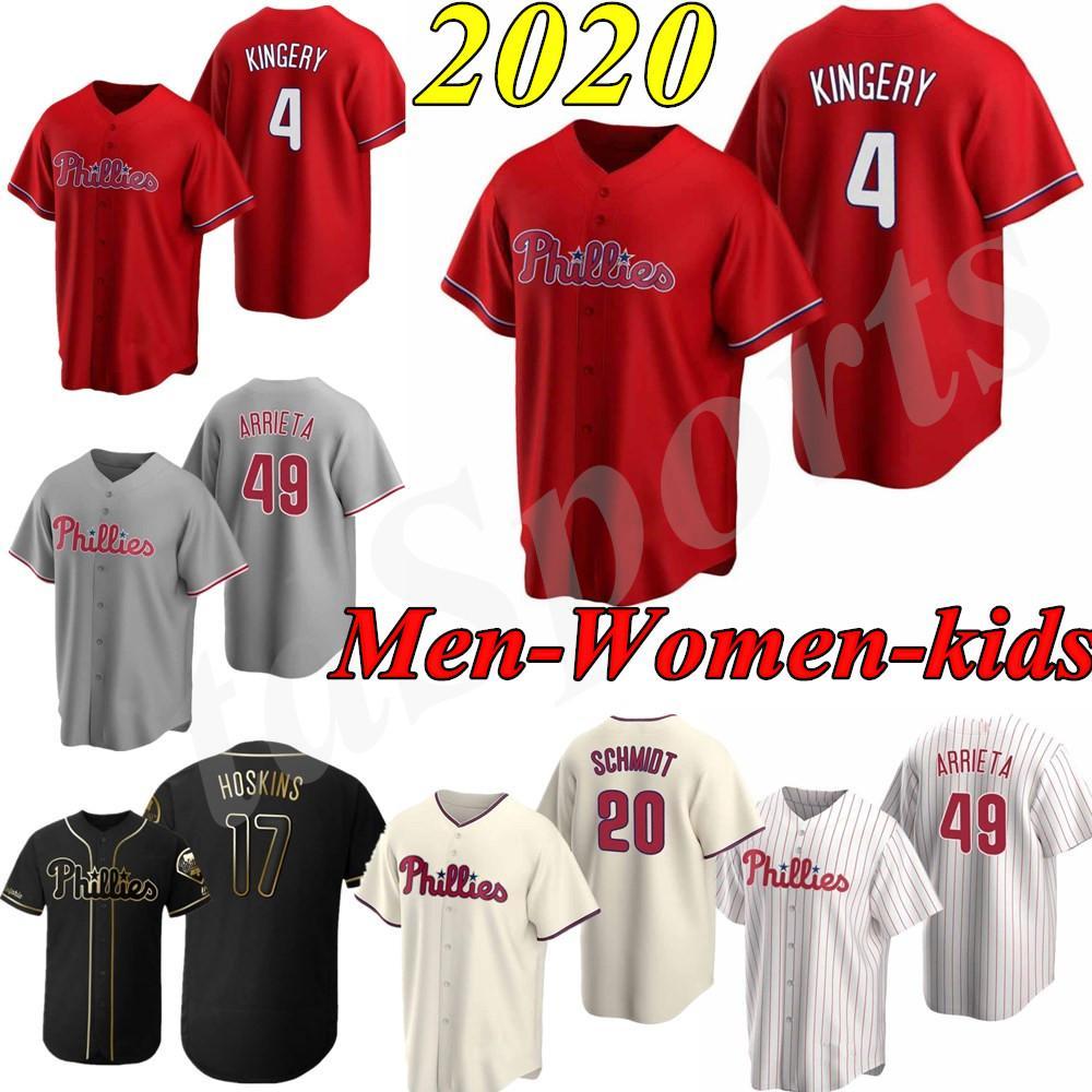 (17)을 Rhys 호스킨스 (10) JT Realmuto 남성 여성 청소년 아무 이름이나 숫자 야구 저지 스티치 하퍼 새 사용자 정의 남자 아이 2020 저지 3