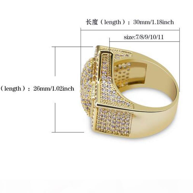 G dos homens 3D Super Estrela de Ouro Cz bling bling 18K amarelo banhado a ouro para fora congelado Cubic Zirconia Micro Pave anel de Hip Hop Jóias Com Presente