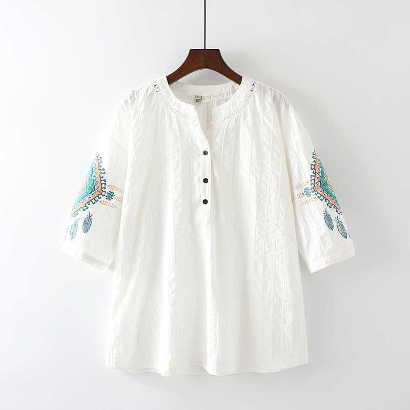 camiseta del algodón de las mujeres del verano de manga corta camiseta de la camisa del cuello de O Flor ropa de moda casual de gran tamaño de las mujeres Tops