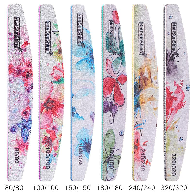 6 قطعة / المجموعة الملونة ملفات الأظافر مسمار التشذيب فرك الشريط الإيداع التلميع الإسفنج 2 الجانب باستخدام أدوات مختلفة أدوات الأظافر