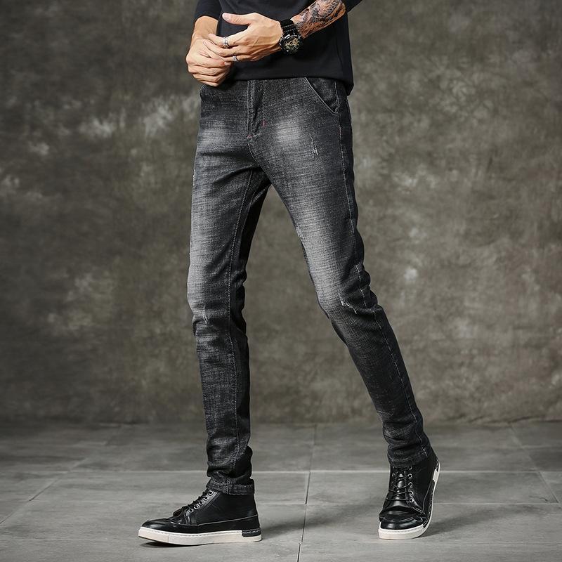 Männer neuer 2020 Xia Jinan Jugend Mode lange koreanischer Stil trendy Allgleiches dünn feste Hosen Jeans und Jeanshosen