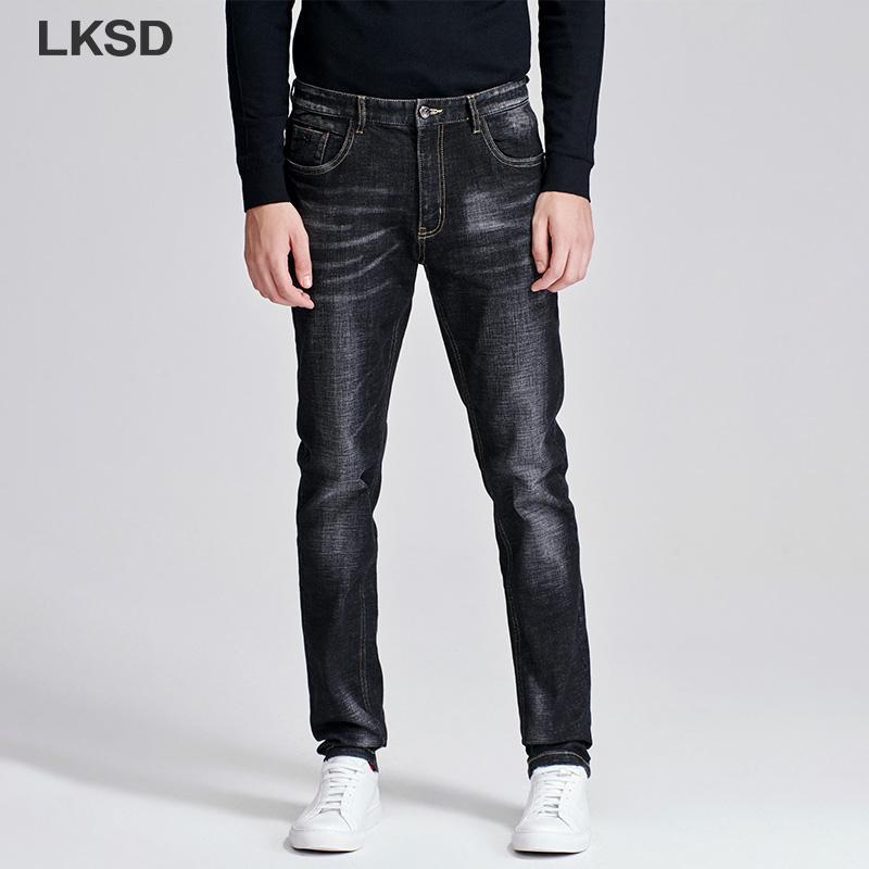 LKSD Autunno Inverno Nuova causale solido semplice Uomo Jeans a vita alta moda Slim Fit Ankel-lunghezza dei jeans degli uomini T17190051