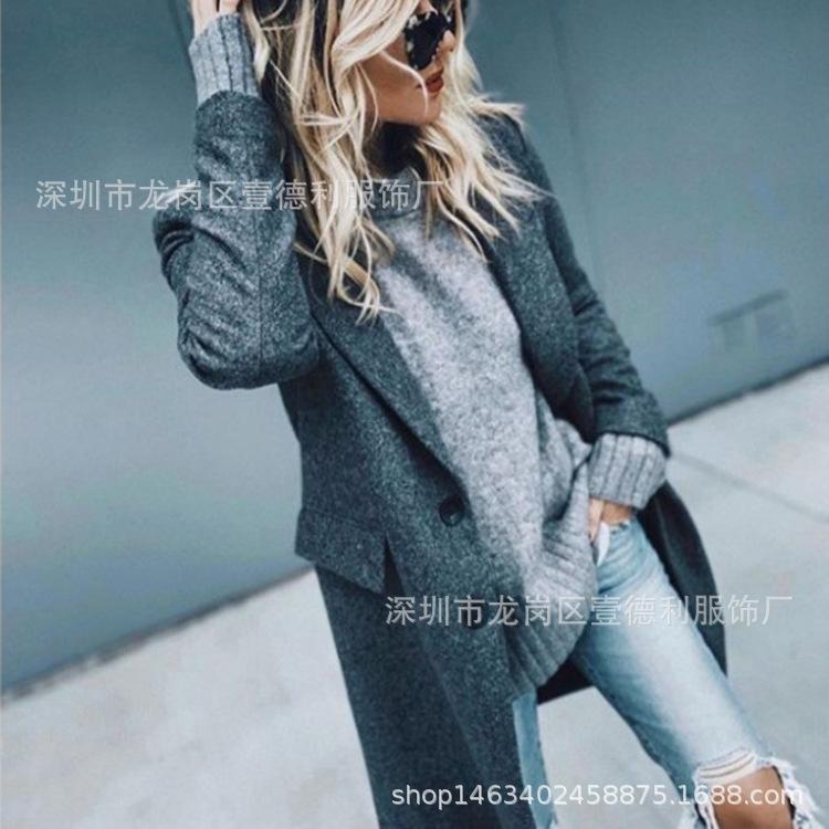 Brasão Outono Inverno longo mulher manga comprida de lã Jacket Mulher e Blends casaco de inverno Mulheres