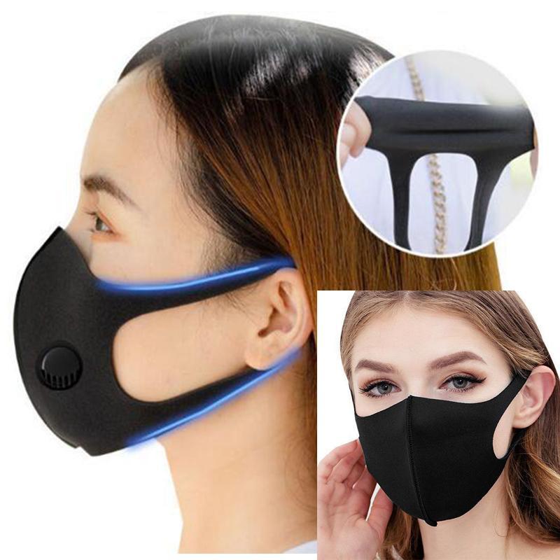 Máscara lavável reutilizável Muffle Respirador Unisex Sponge Dustproof Poluição Meia cara boca sem respiração válvula alças largas