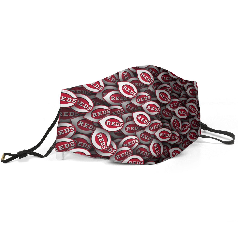 Kadınlar Erkekler Yüz Toz Ayarlanabilir Kulak Kanca ovalama taktiği ile Kül-Cincinnati-Reds-W-Beyzbol ohio Baskılı Maske