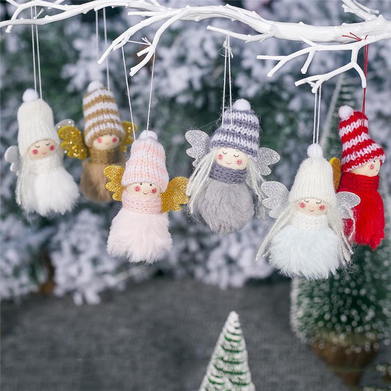 معلق عيد الميلاد دمية عيد ميلاد سعيد الملاك دمية قلادة شجرة عيد الميلاد دمية معلقة الحلي لحزب الديكور المنزلي قلادة DHA539