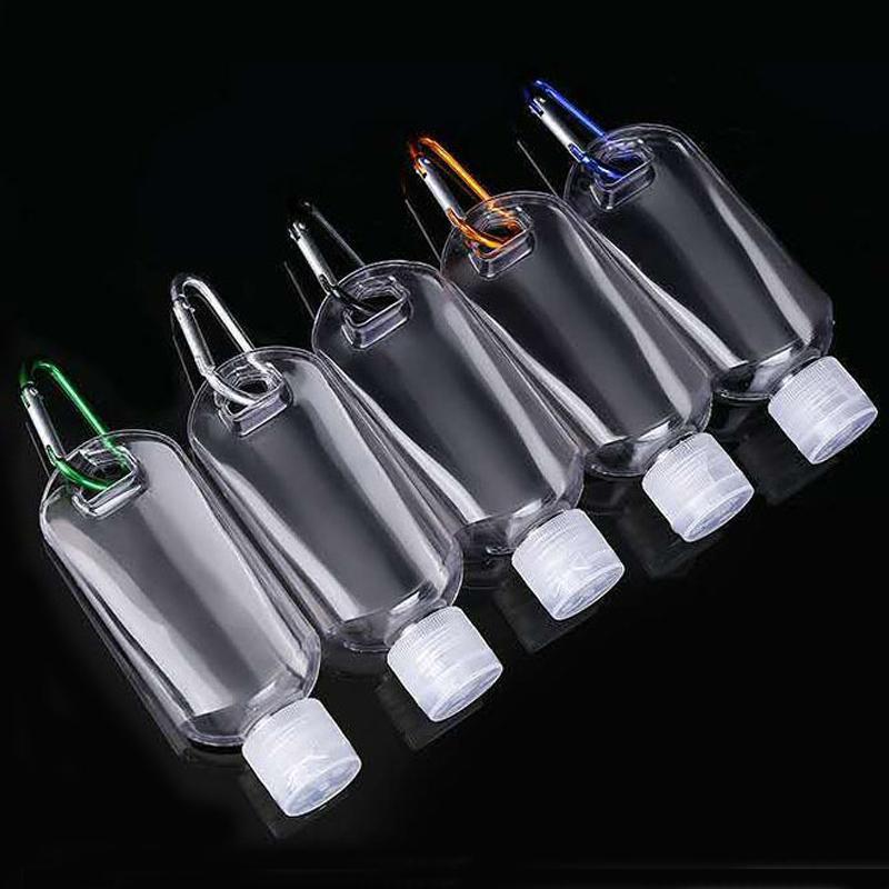 2 أوقية زجاجة إعادة الملء الفارغة مع المفاتيح هوك واضح شفافة البلاستيك اليد المطهر زجاجة الكحول لسفر زجاجة مجانية dhl