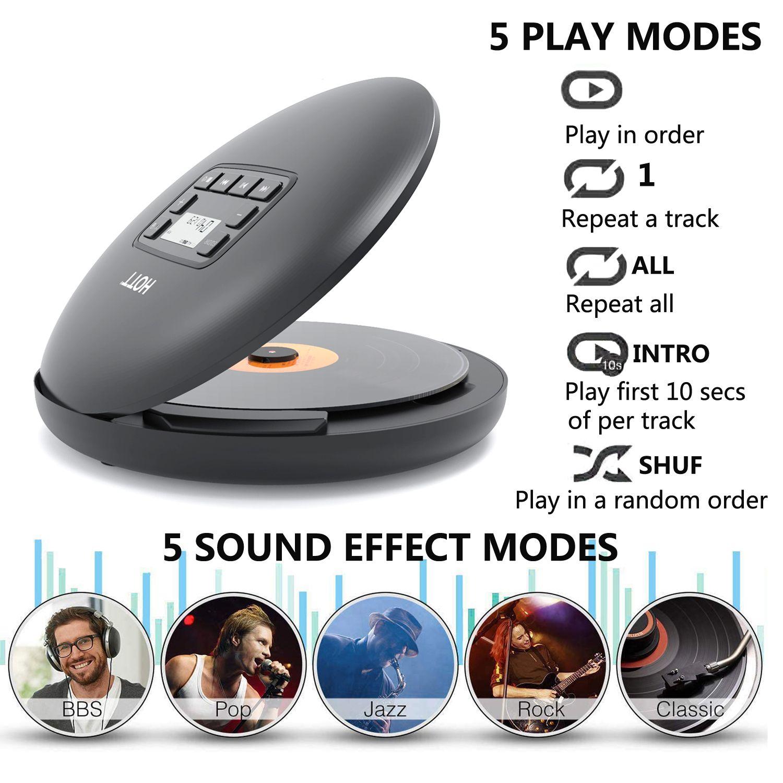 HOTT CD204 аккумуляторная CD-плеер Bluetooth портативный CD-плеер с дисплеем Аккумуляторный светодиодный персональный CD плейером, чтобы наслаждаться музыкой