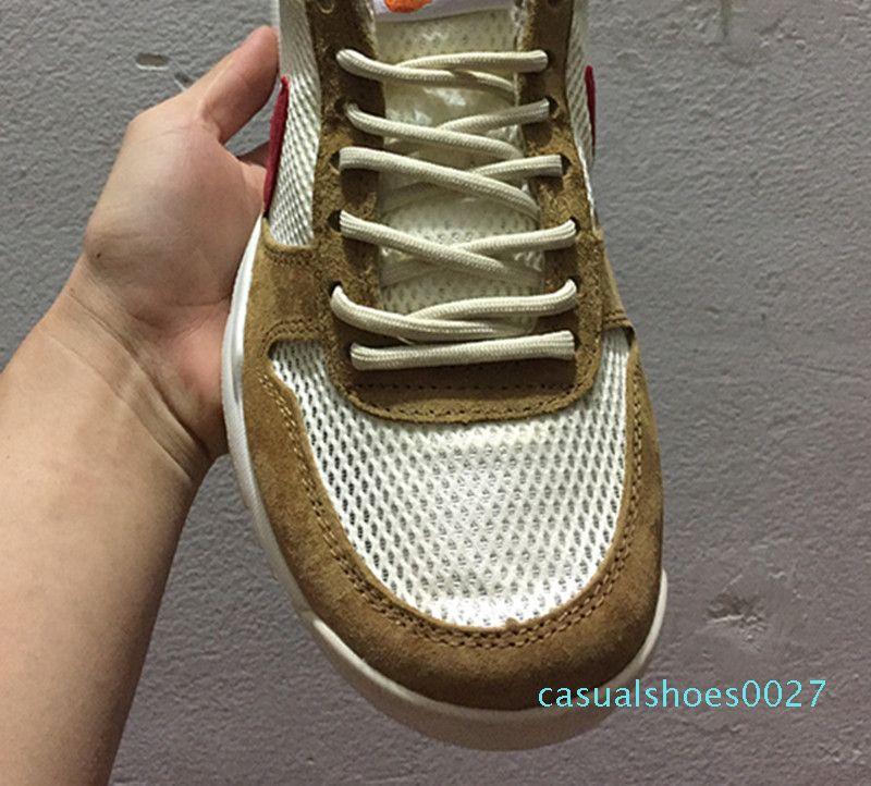 Yeni Çıkış Tom Sachs Craft Mars Yard TS NASA 2.0 Ayakkabı AA2261-100 Doğal / Spor Kırmızı-Maple Unisex Nedensel Ayakkabı Boyut 36-45 C27