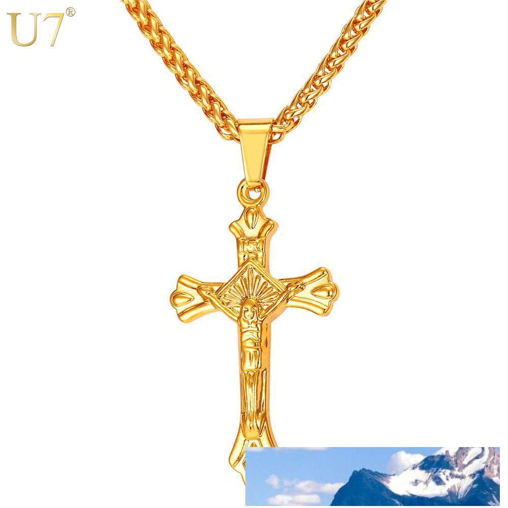 einzigartige lateinisches Kreuz Halskette für Männer Edelstahl Schmuck 18K Gold überzog Religious Trendige Kruzifix Christian Jesus-Kreuz-Anhänger