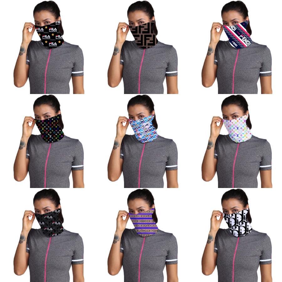 Designer Stampato Cotone Donne faccia sciarpa magica Maschera 14 stili chiffon Fazzoletto antivento esterna di fronte mezzo antipolvere Parasole Ma # 563 # 350