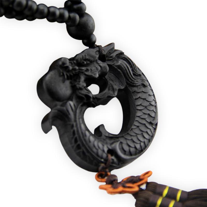 Chinese Fengshui Hang Decorations Car Pendant Carving Crafts Prayer Ebony Wood Dragon Sculpture