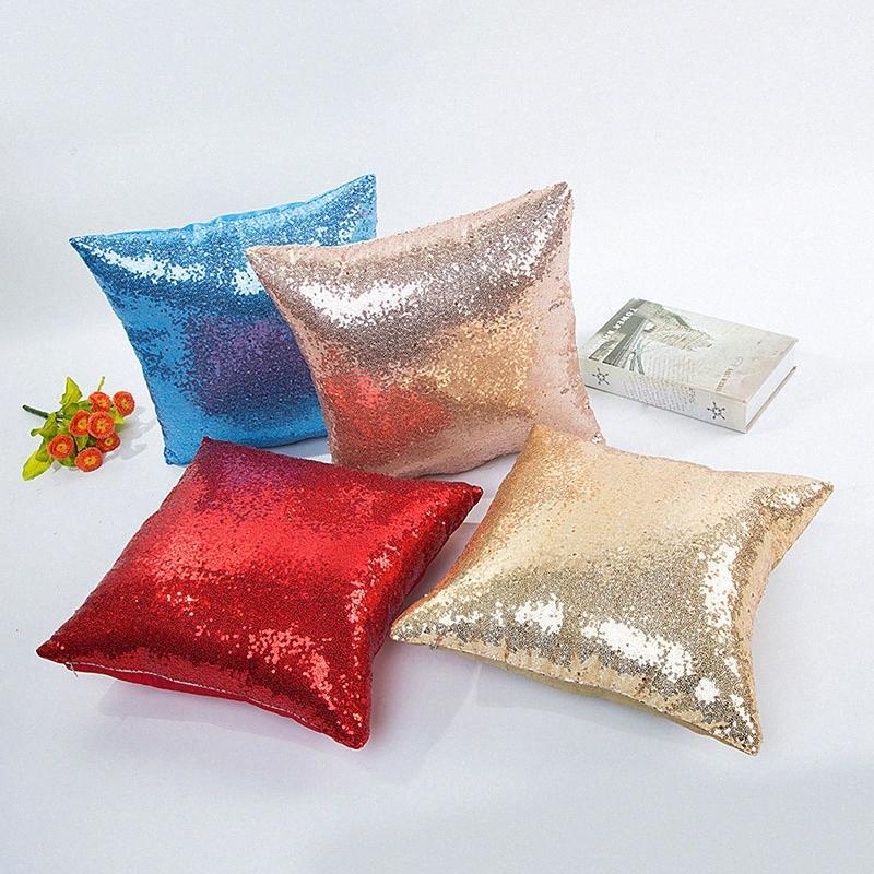 Home Decor Cushion Cover Decorative Pillows Capa De Almofada Solid Color Glitter Silver Sequins Bling Throw Pillow Case Cafe lZNf#