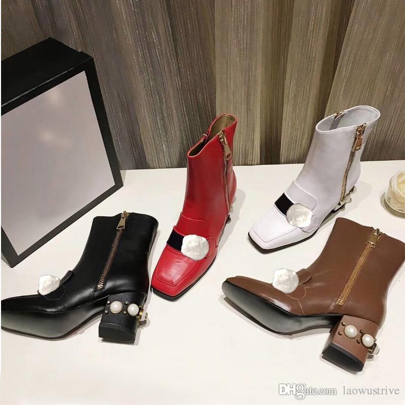 Martin botas 100% mulheres mulheres do couro de luxo designer sapatos de couro botas de salto alto de metal fivelas Moda botas curtas Grande tamanho us4-11 42