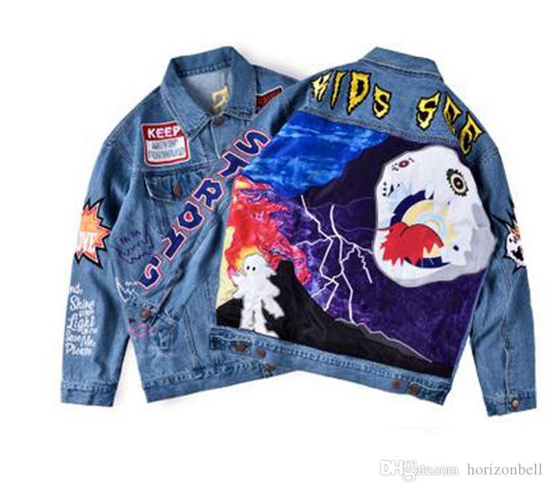 Travis Scott Astroworld Üst Erkek Kadın Tasarımcı Denim Ceket sokak giyim Biker Popüler Mavi Dış Giyim Hip hop Punk Sonbahar Uzun Kollu Ceket