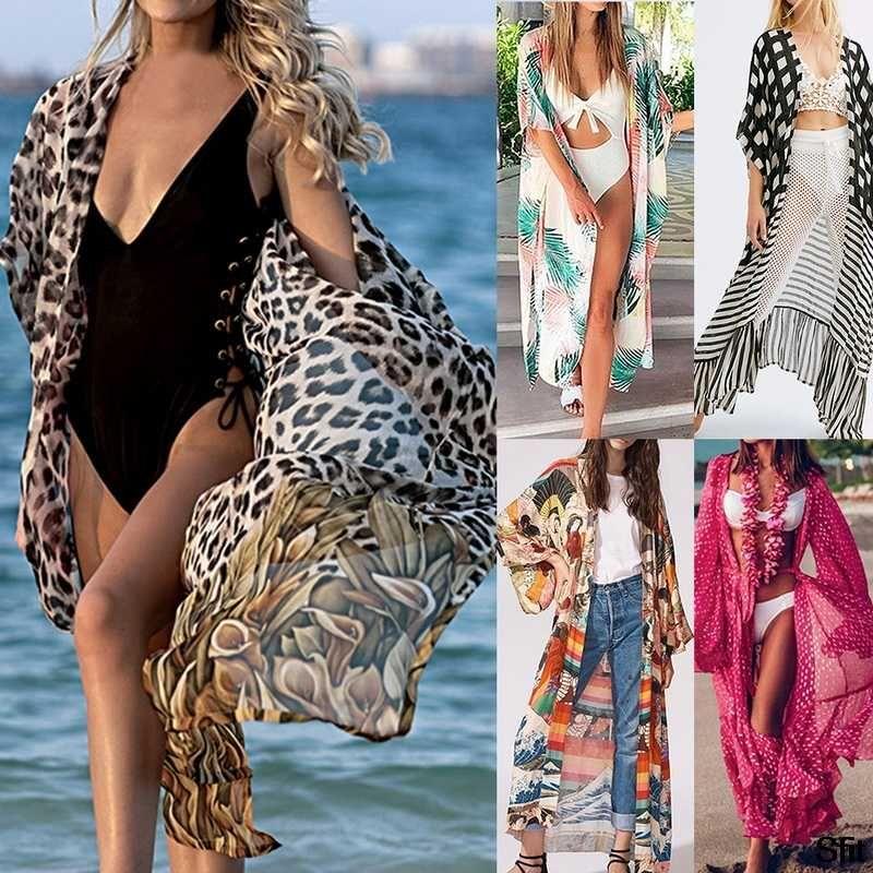 2020 Mulheres Swimsuit Cover Up Sleeve Kaftan Praia Túnica Vestido frente aberta Maxi Vestido Cardigan Praia Cotton Colarinho alto Cover Up