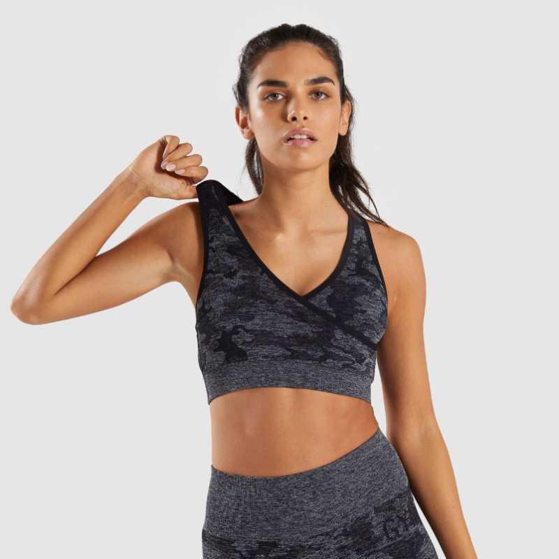 Camo Yoga Soutien-gorge sans couture Femmes Fitness Yoga Soutien-gorge Sport rapide Sport sec Top sans couture en cours de remise en forme Sport Top