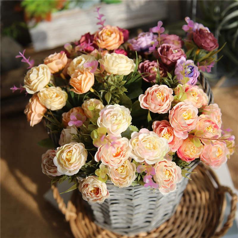 29 centímetros New Arrivals Tea Rose Bouquet com cores diferentes de casamento bonito decoração grossistas alta qualidade barato Noiva Bouquets