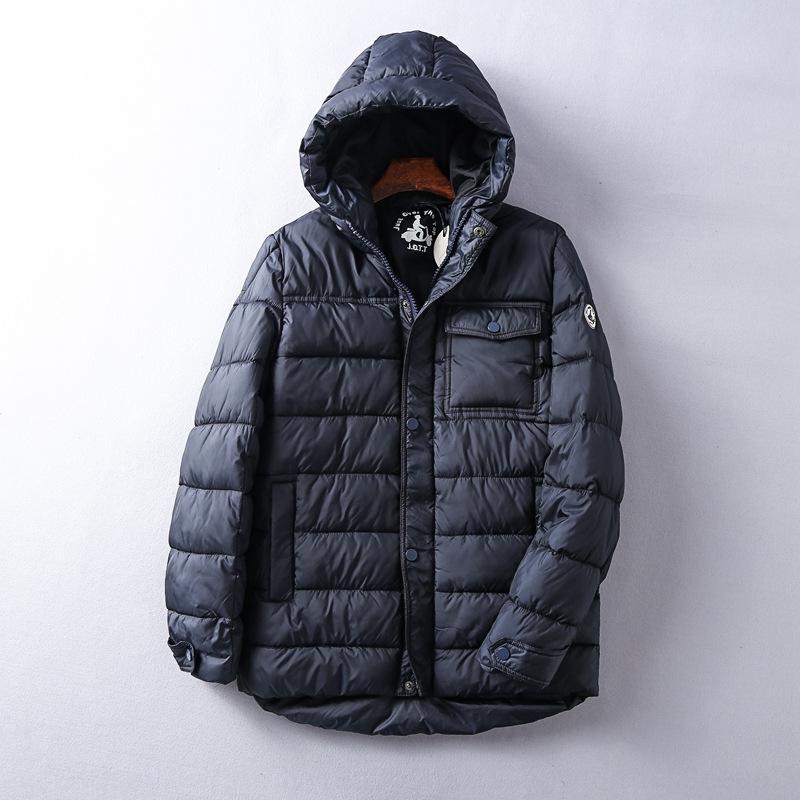 TxBfp Französisch Männer einfach mit Kapuze Winter warme verdickt Männerkleidung Hülse Warm Cotton-padded lange Baumwolle gepolsterte Kleidung