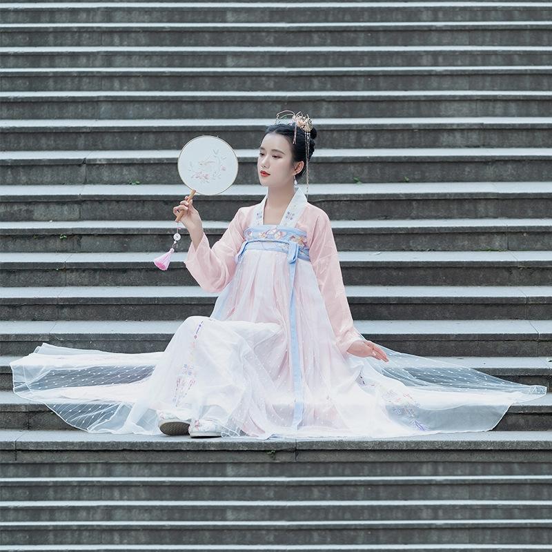xDO95 QLtYY Nuovo tradizionale Hanfu piena estate vita con ricamo petto-gonna 9 m oscillare grande molla dimagrante al giorno e le donne di
