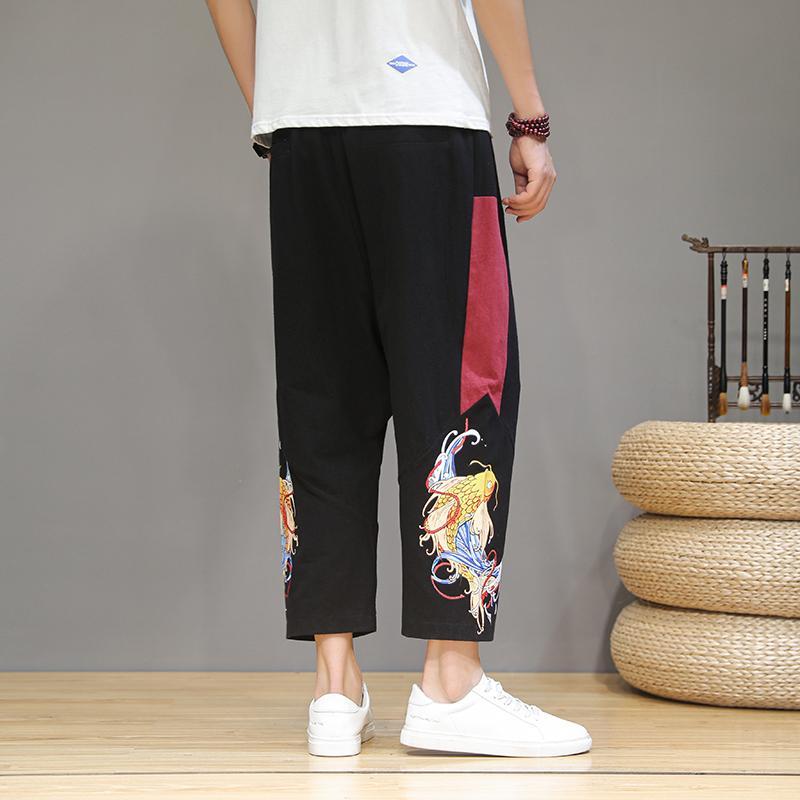 Plus Size Men Harajuku Cross Pants 2020 Mens Summer Cotton Linen Joggers Pants Male Vintage Chinese Style Drop Crotch Men