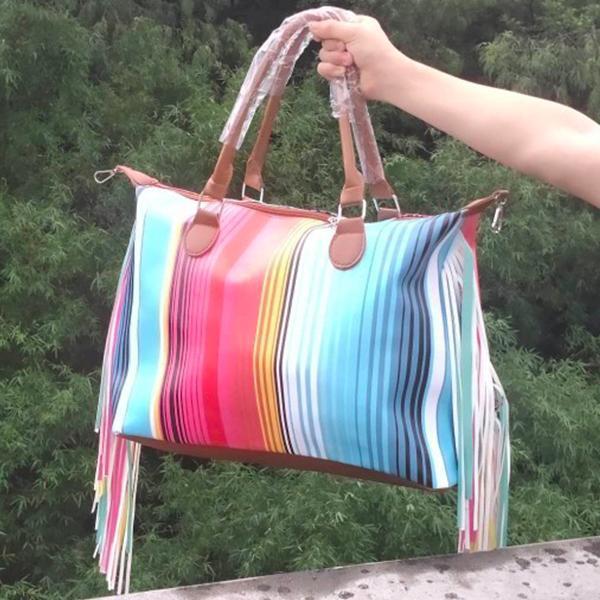 nouveau style patchwork seraper bande pompon Weekender fourre-tout femmes sac grand sac à main imprimé rayé de la mode avec poignée pu pompon