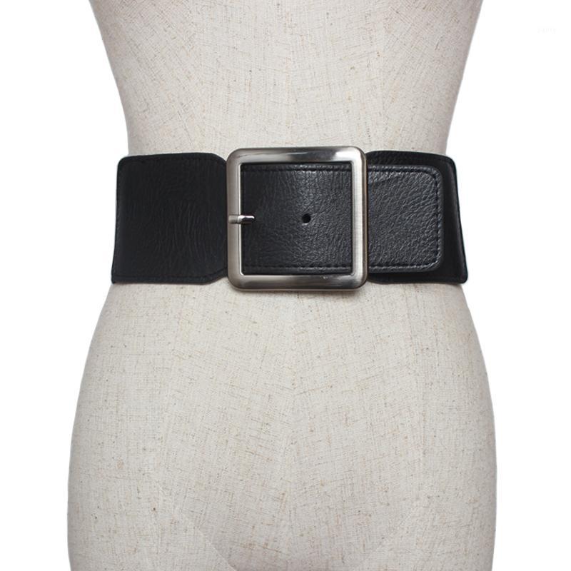 Correa de las mujeres grandes de ancho hebilla de metal de cuero de la PU alto estiramiento ancho en la cintura elástico de la cintura de la correa Ceinture Hembra Vestidos Para